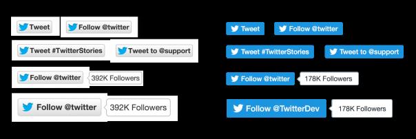 Twitter : Nouveaux boutons Tweet & Follow - 2015