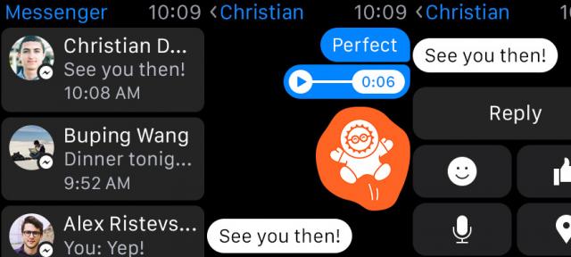 Facebook Messanger : Application Apple Watch