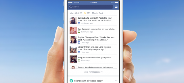 Facebook : Onglet de notifications