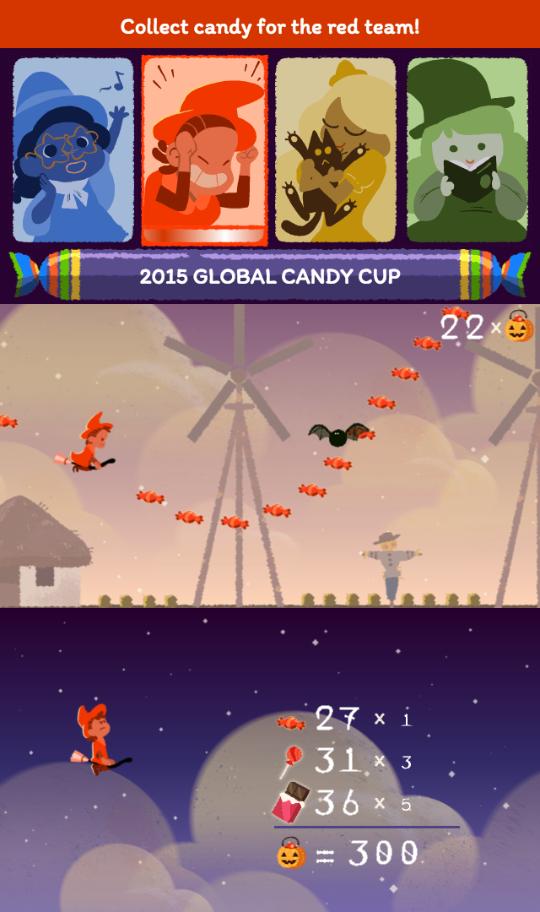 Google : Doodle Halloween 2015 - Equipe rouge