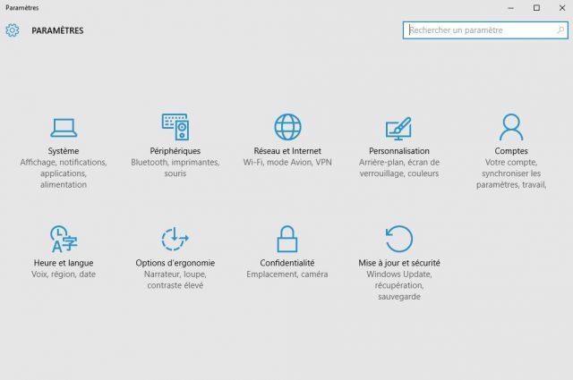 Windows 10 : Paramètres