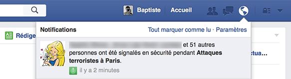 Facebook : Attaques terroristes à Paris - Notifications