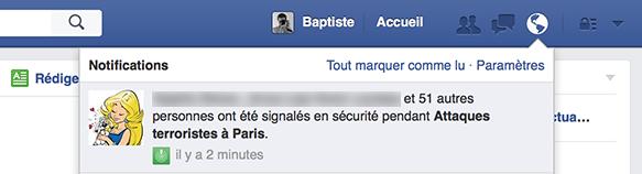 Facebook : Attaques terroristes à Paris - Notifications