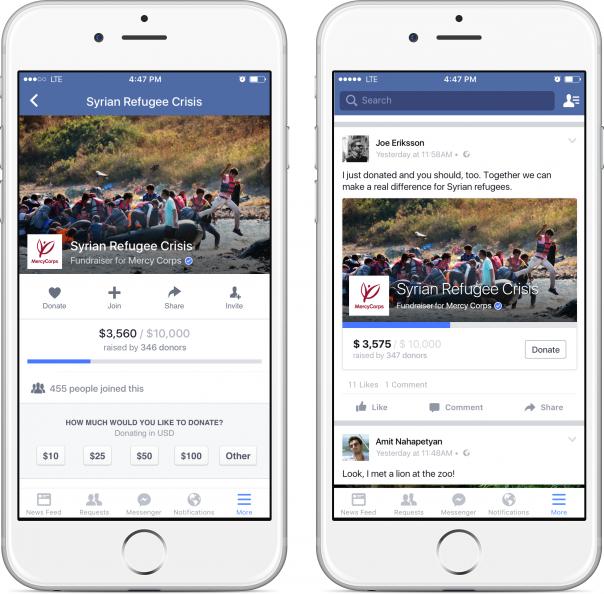 Facebook Fundraiser : Page de don & partage