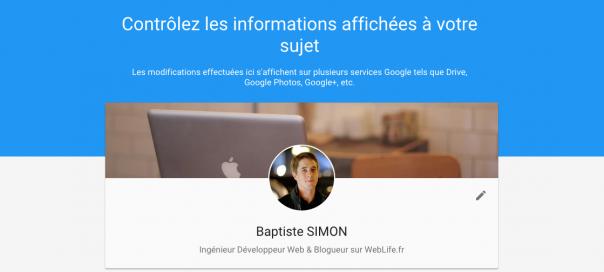 Google : Nouveau profil «A propos de moi» dévoilé