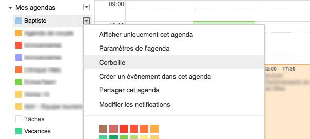 Google Agenda : Corbeille
