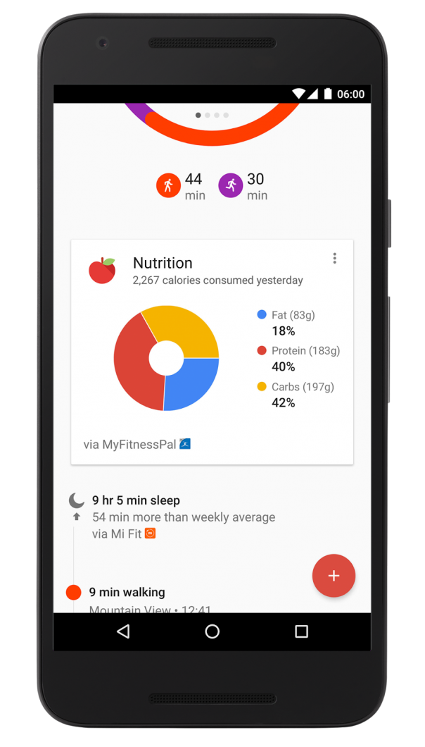 Google Fit : Nutrition & nuit