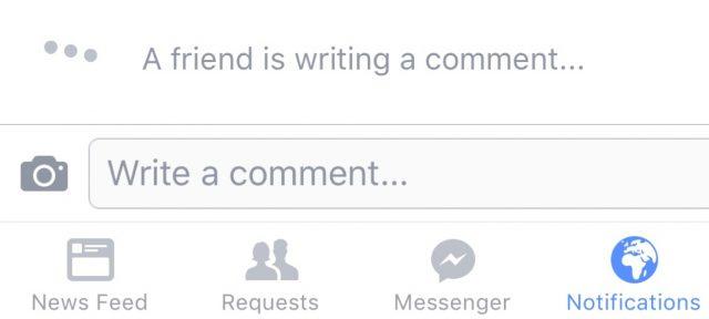 Facebook : Commentaire en cours de rédaction