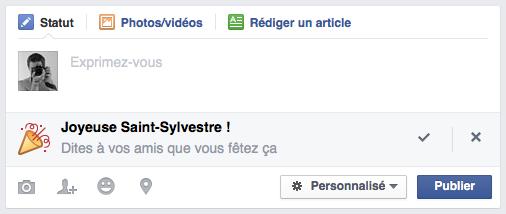 Facebook : Joyeuse Saint-Sylvestre - Statut