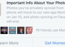 Facebook Moments imposé pour la synchro de photos