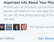 Facebook Moments imposé pour la synchro de photos