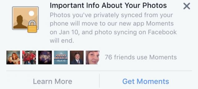 Facebook : Synchronisation des photos