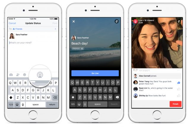 Facebook : Streaming vidéo live