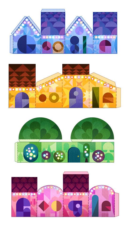 Google : Doodle Joyeuses fêtes - Papercraft