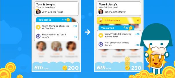 Swarm permet l'achat de stickers bonus avec les pièces de monnaie
