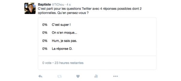 Questions Twitter : 4 réponses désormais possibles