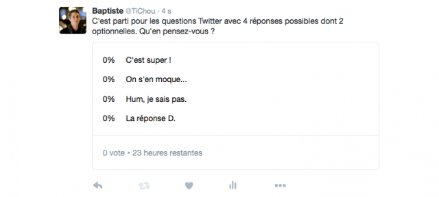 Twitter : Questions à 4 responses