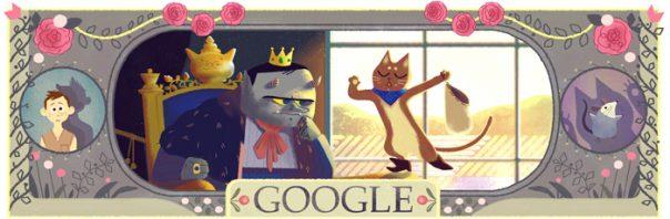 Google : Doodle Charles Perrault - Le Maître chat ou le Chat botté