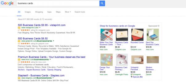 Google AdWords : 4 liens sponsorisés en zone premium