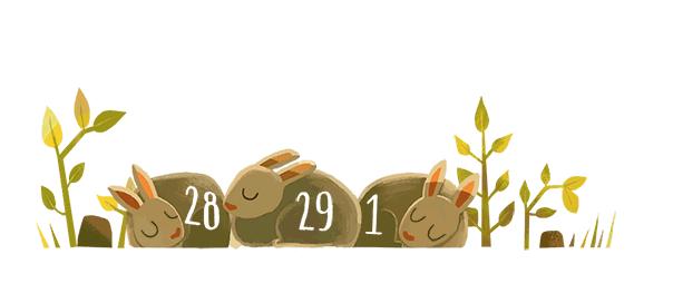 Google : Année bissextile 2016 et le 29 février en doodle