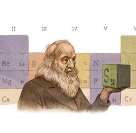 Google : Dmitri Mendeléiev et le tableau des éléments en doodle
