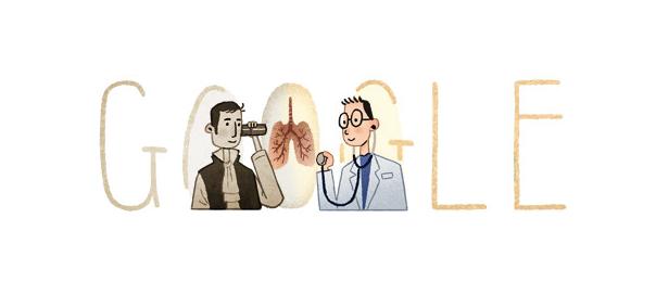 Google : René Laennec, l'auscultation & le stéthoscope en doodle