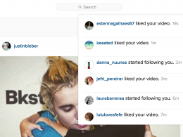 Instagram : Notifications sur le site web