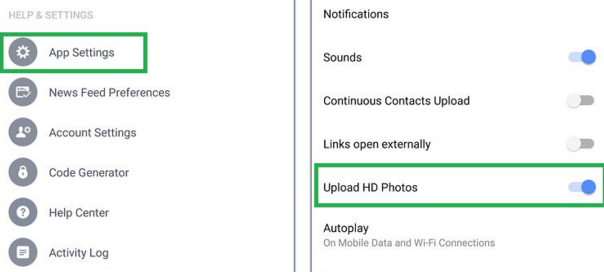 Facebook : Upload de photos HD sous Android