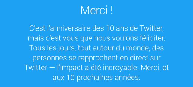 Twitter : Anniversaire des 10 ans
