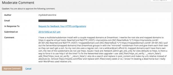 WordPress 4.4 : Page de modération de commentaire