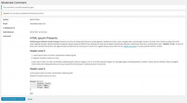 WordPress 4.5 : Page de modération de commentaire