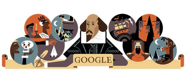 Google : William Shakespeare en doodle
