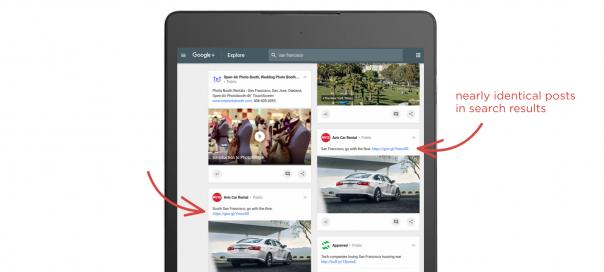 Google Plus : Les résultats de recherche quasi-identiques dédoublonnés