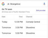 Google dévoile le programme TV live dans les SERPS