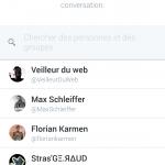 Twitter : Bouton de partage de tweet par DM - Personnes et groupes