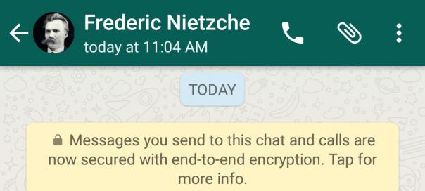 WhatsApp : Conversations chiffrées entre les utilisateurs