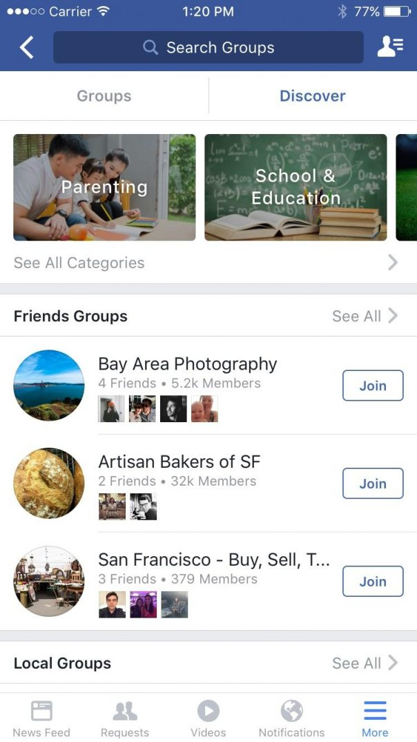 Facebook groupes discover