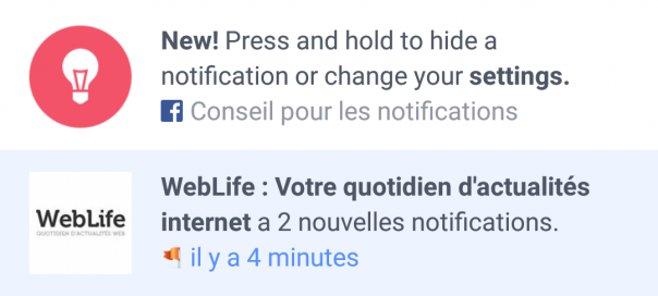 Facebook : Masquer les notifications sur l'app mobile