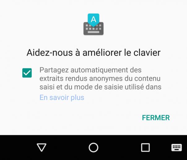 Clavier Google : Partage des informations