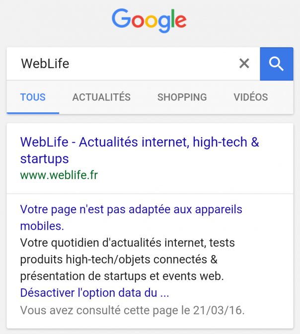 Google : Liens bleus dans les pages de résultats