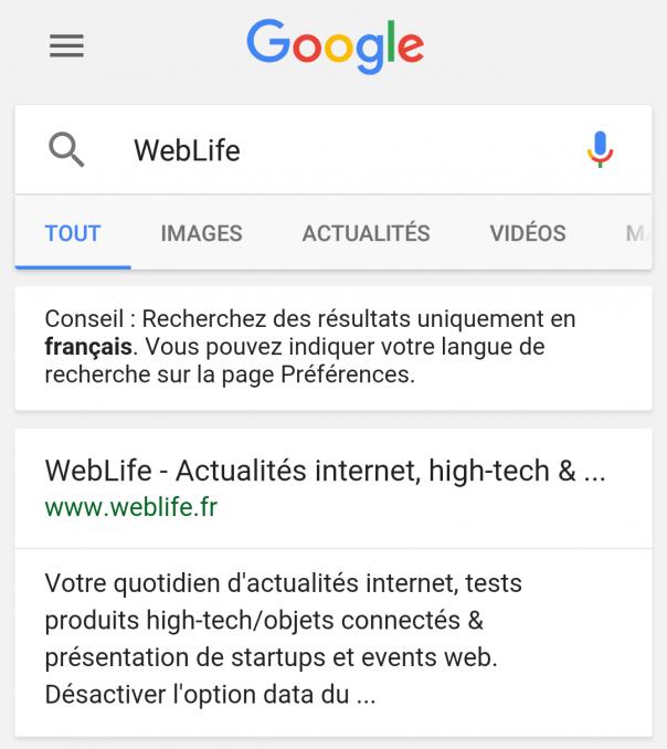 Google : Liens noirs dans les pages de résultats