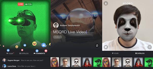 Facebook Live : Filtres MSQRD à la Snapchat et autres nouveautés