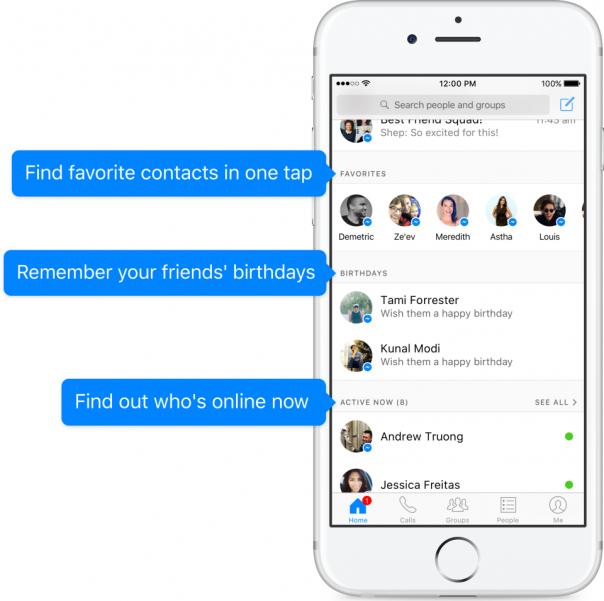 Facebook Messenger : Accueil de la messagerie - Détails