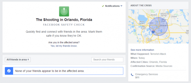 Facebook : Safety Check - Shooting Orlando