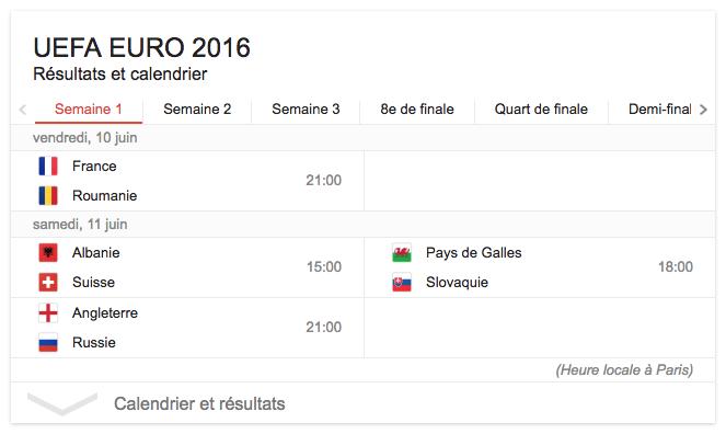 Calendrier Des Match Euro.Google Resultats Et Calendrier Des Matchs De L Euro 2016