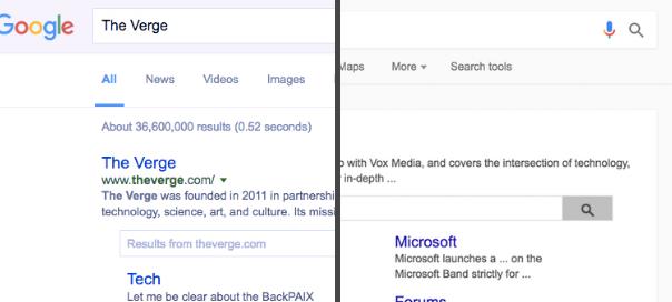 Google : Test du Material Design pour les SERP sur desktop