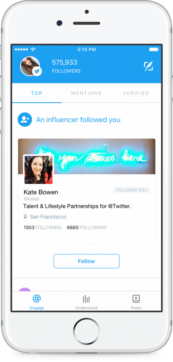 Twitter Engage : Notification d'influenceur