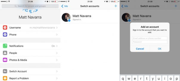Facebook Messenger lance le multicompte sur iOS