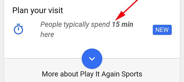 Google : Temps passé sur un lieu