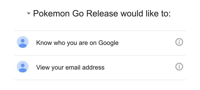 Pokémon Go : Permissions compte Google
